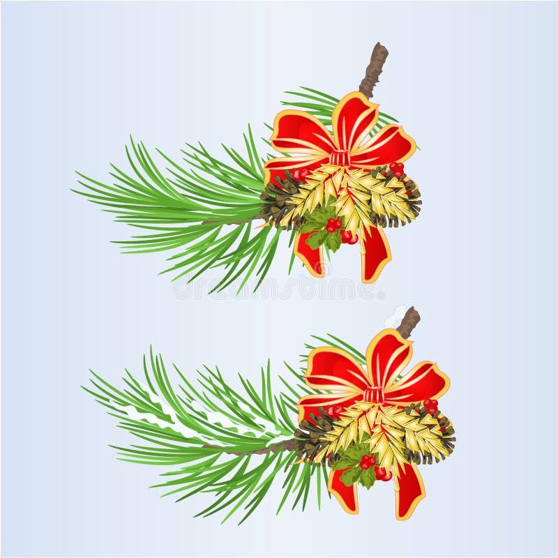El sistema los ornamentos de la Navidad de la decoración de la Navidad y del Año Nuevo con la cinta y los conos y el vintage de l libre illustration