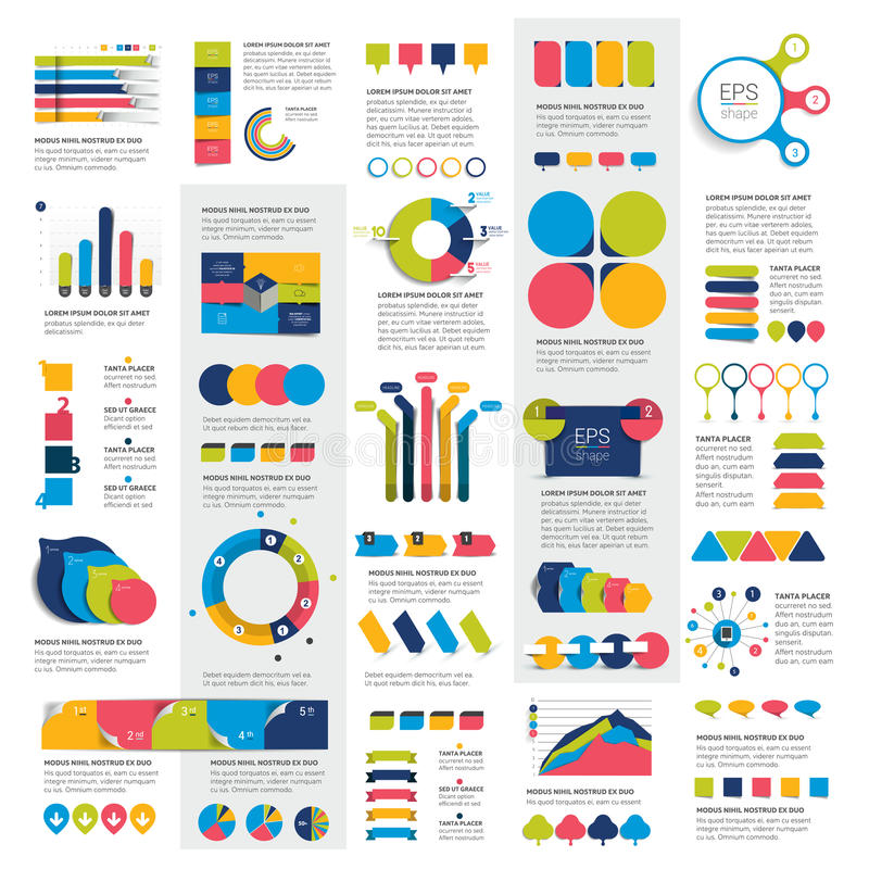 El sistema mega de las cartas de elementos del infographics, gráficos, cartas del círculo, diagramas, discurso burbujea stock de ilustración