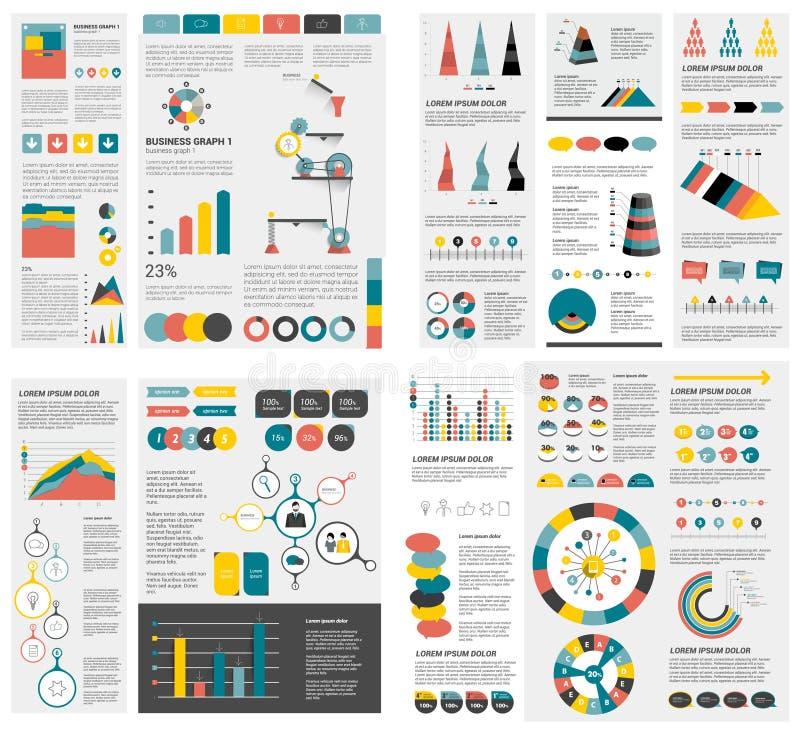El sistema mega de las cartas de elementos del infographics, gráficos, cartas del círculo, diagramas, discurso burbujea Plano y d stock de ilustración