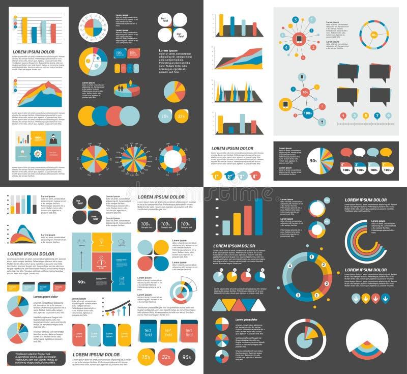 El sistema mega de las cartas de elementos del infographics, gráficos, cartas del círculo, diagramas, discurso burbujea Plano y d libre illustration
