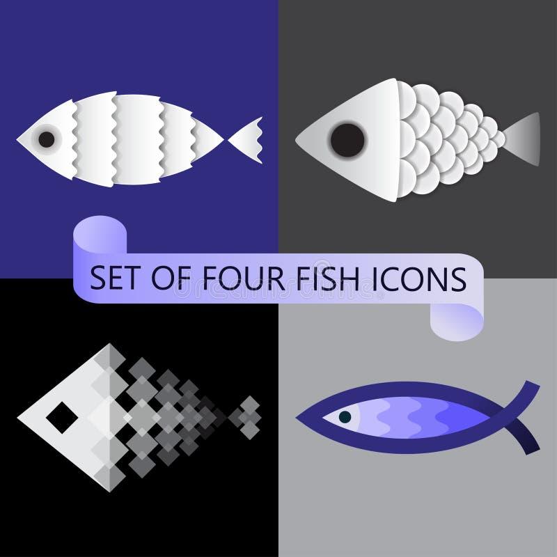 El sistema minimalista del vector de cuatro estilizó iconos de los pescados libre illustration