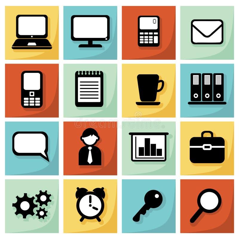 El sistema moderno de iconos planos, oficina, negocio, ejemplo, diseño web se opone libre illustration