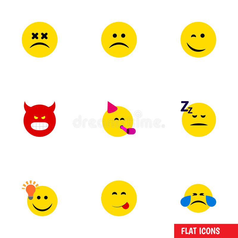 El sistema plano de la cara del icono de triste, tiene una buena opinión, un sudor frío y otros objetos del vector También incluy ilustración del vector