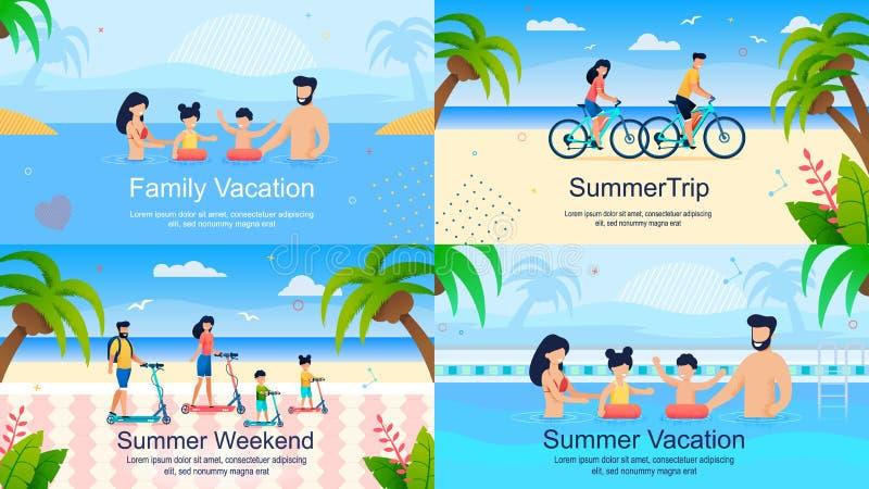 El sistema plano de las banderas hace publicidad de vacaciones de verano de la familia ilustración del vector