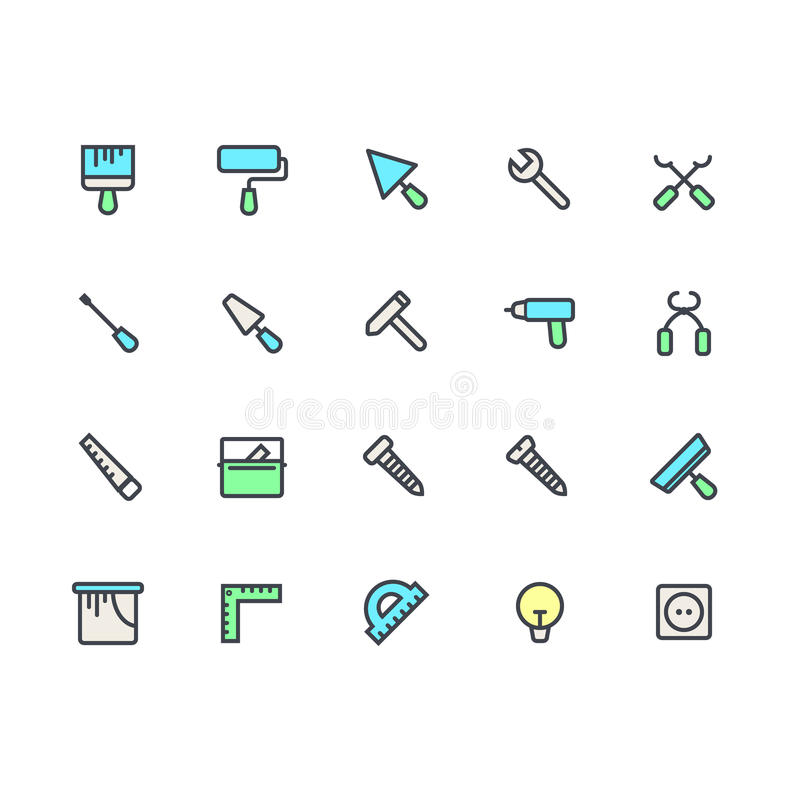 El sistema plano del icono de la casa remodela las herramientas La casa remodela elementos y el equipo Edificio, diseño gráfico d stock de ilustración