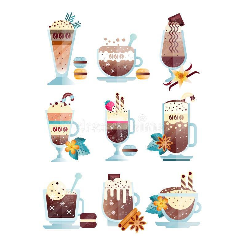 El sistema plano del vector de café sabroso bebe en tazas y vidrios transparentes Bebidas calientes y enfriadas deliciosas con stock de ilustración