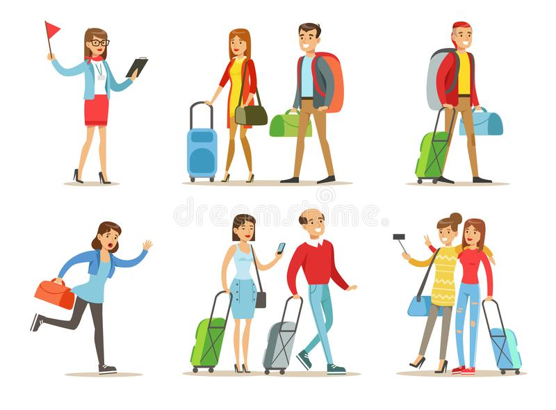 El sistema plano del vector de gente con viaje empaqueta Guía turística, pares con equipaje, novias que hacen el selfie, corriend stock de ilustración