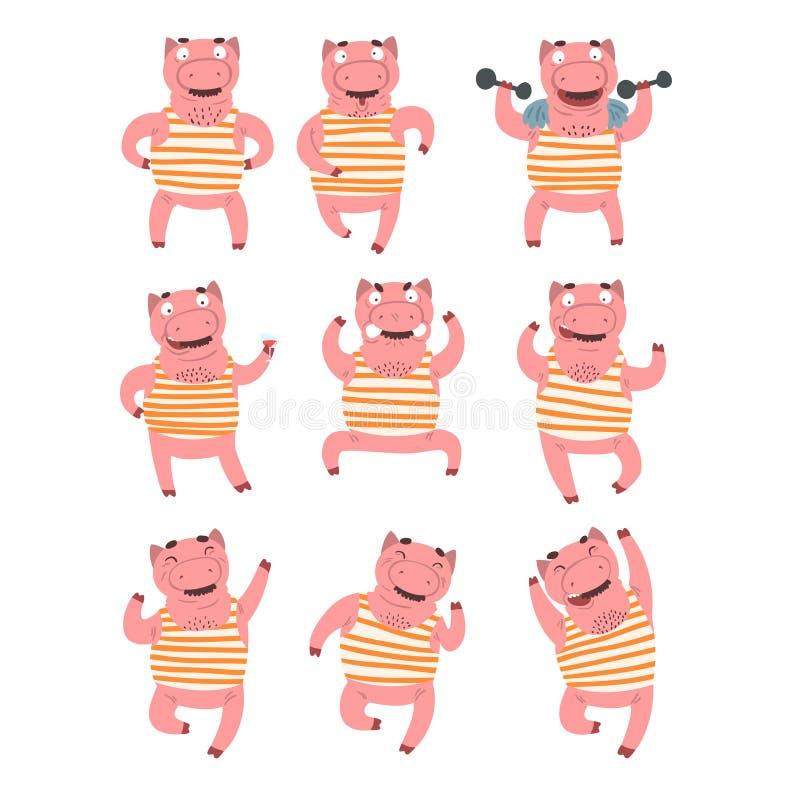 El sistema plano del vector del rosa humanizó el cerdo en diversas acciones Animal doméstico con diversas emociones Carácter dive libre illustration