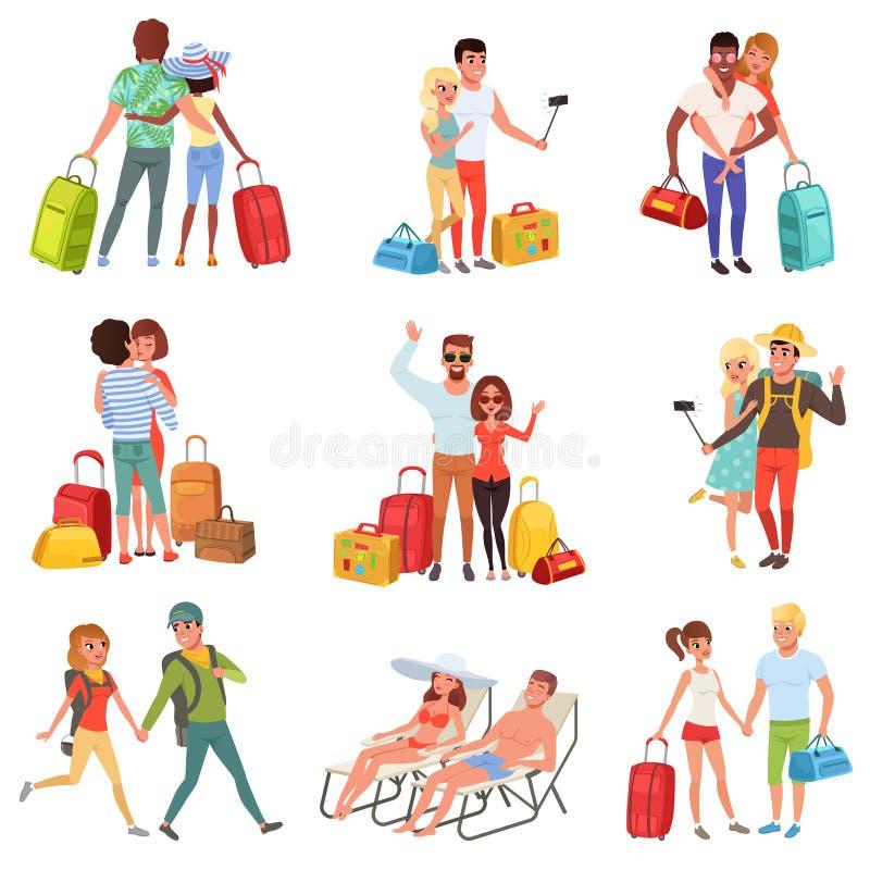 El sistema que viaja de la gente, par de la familia con equipaje el vacaciones vector ejemplos en un fondo blanco stock de ilustración