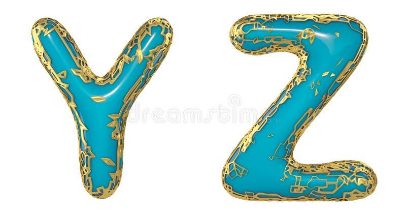 El sistema realista Y, Z de las letras 3D hizo de letras brillantes del metal del oro stock de ilustración