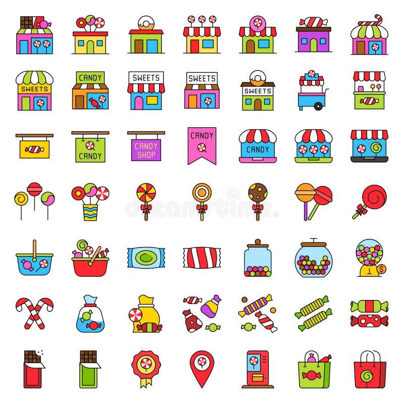 El sistema relacionado tienda dulce del icono del vector, llenó el esquema editable del estilo ilustración del vector