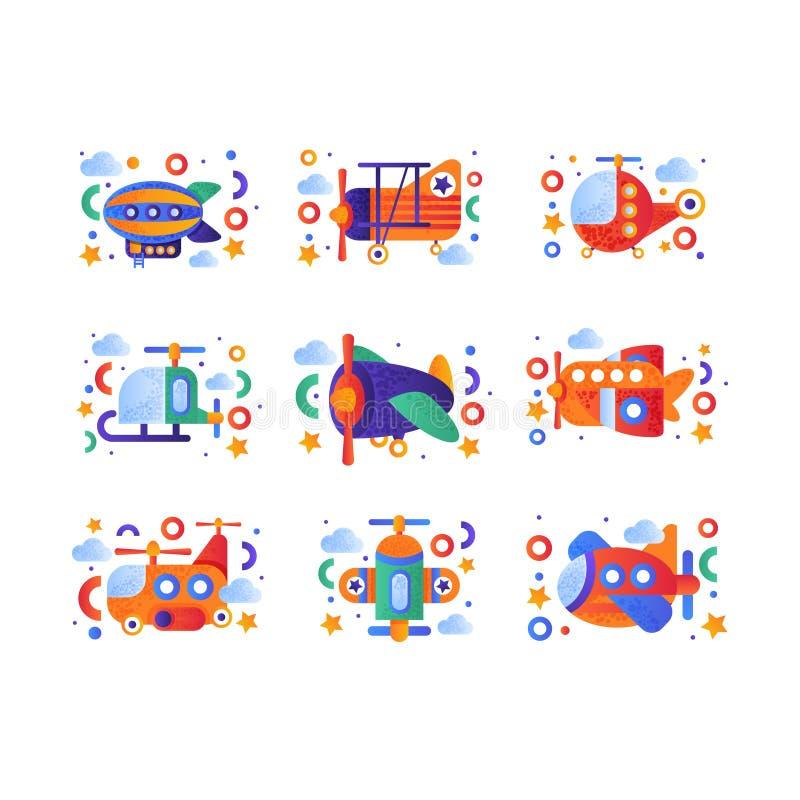 El sistema retro del transporte aéreo del juguete, dirigible, aeroplano, biplano, vehículos del helicóptero vector el ejemplo en  stock de ilustración