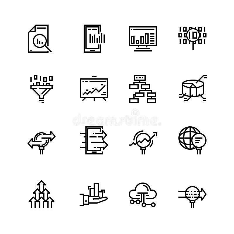 El sistema simple de análisis de datos relacionó la línea iconos del vector Contiene los iconos tales que las cartas, gráficos, a ilustración del vector