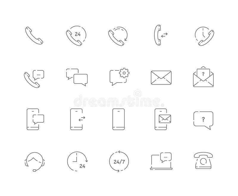 El sistema simple de contactos relacionó la línea iconos del vector del web tales como llamada nosotros, mensaje, móvil y más libre illustration