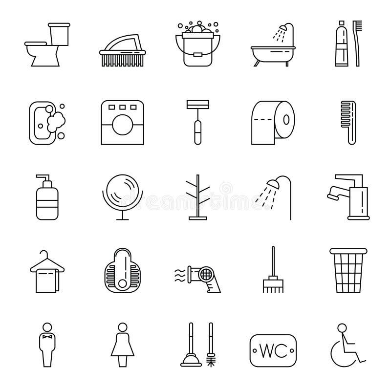 El sistema simple de higiene relacionó la línea iconos del vector con estilo del esquema libre illustration