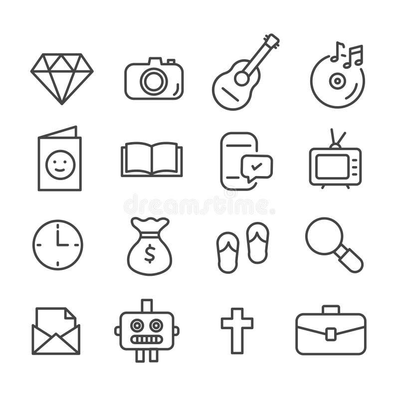 El sistema simple de la materia del adolescente relacionó los iconos aislados en el fondo blanco stock de ilustración