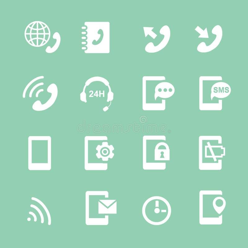 El sistema simple de teléfonos relacionó iconos del blanco del vector libre illustration