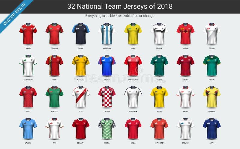 El sistema uniforme del grupo del jersey de fútbol del equipo nacional 2018, maqueta de los futbolistas para su presentación el p ilustración del vector