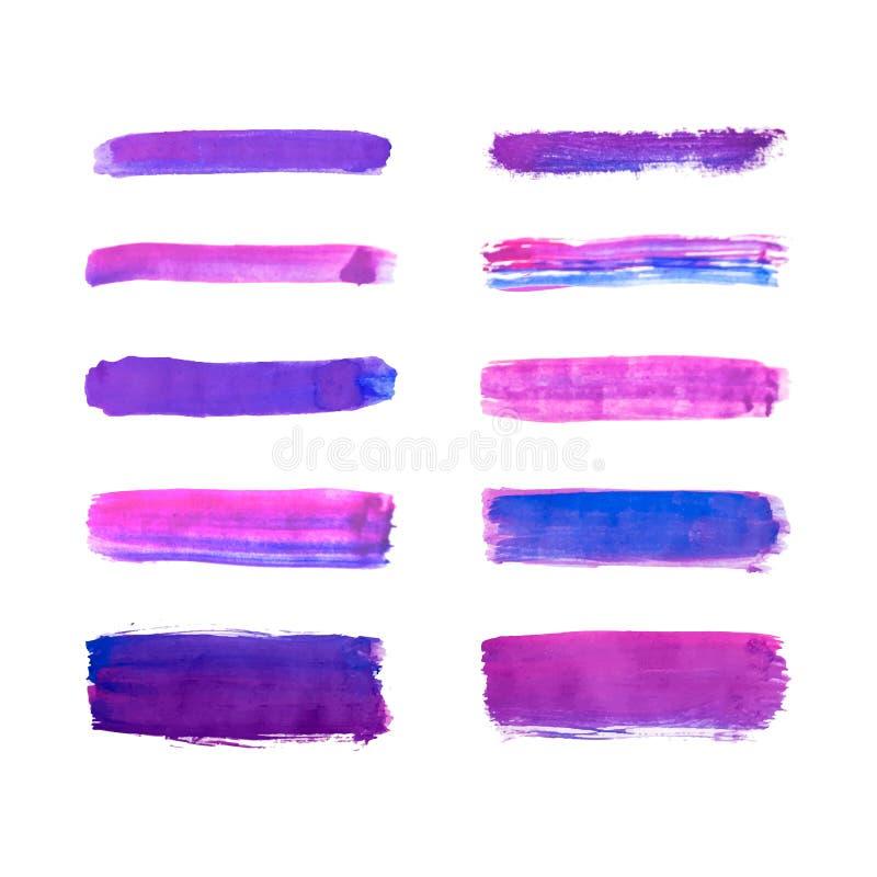 El sistema y púrpura pintura dibujada de la mano azul, movimientos del cepillo de la tinta, cepillos, alinea la acuarela aislada  stock de ilustración
