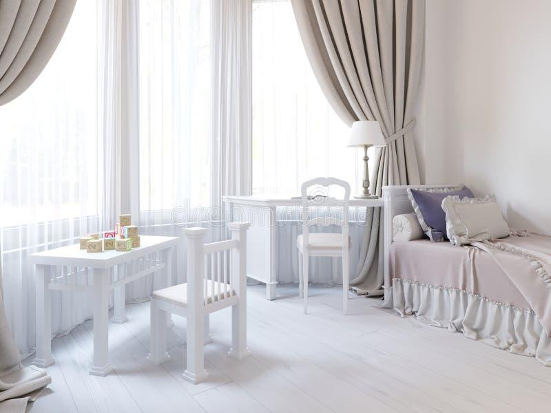 El sitio de niños en un color blanco lujoso, con una cama, un guardarropa y una mesa de juegos de los niños stock de ilustración