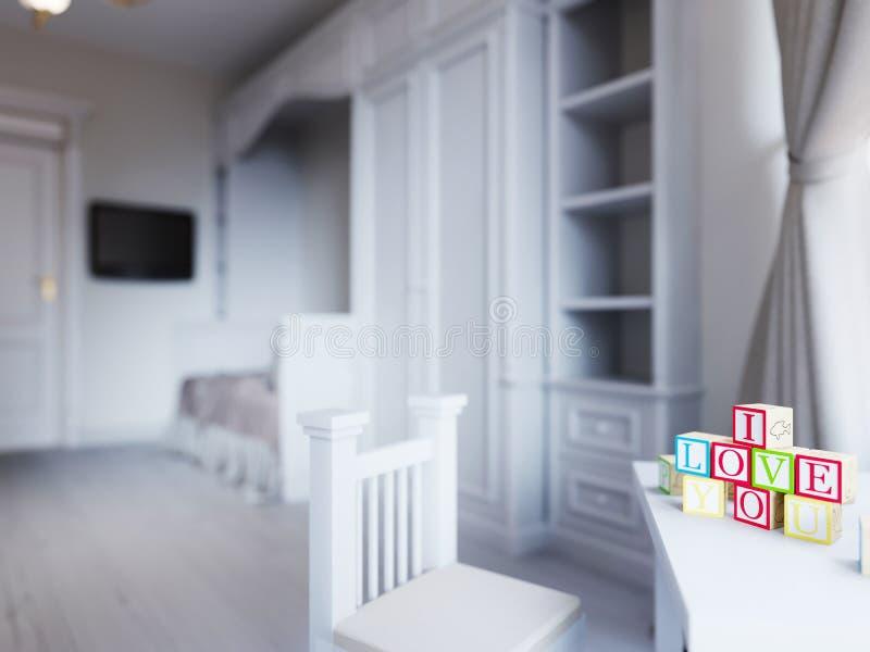 El sitio de niños en un color blanco lujoso, con una cama, un wardro stock de ilustración