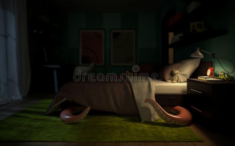 El sitio de niños interior con un monstruo tentacular debajo de la cama ilustración del vector
