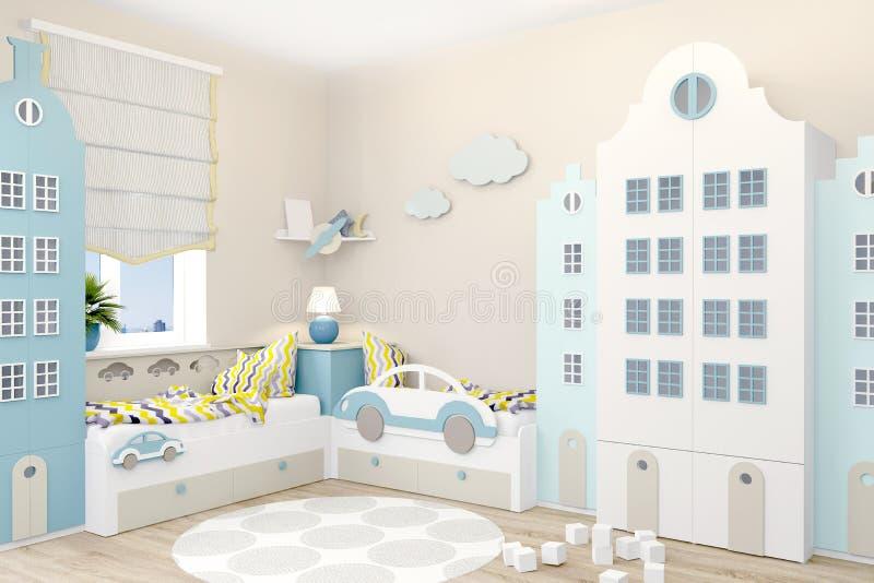 El sitio de niños para dos muchachos en estilo escandinavo Guardarropa bajo la forma de casas de Amsterdam ilustración del vector