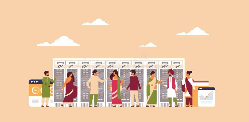 El sitio de trabajo del concepto del centro de datos de la gente india que recibe el gráfico de la base de datos de la informació libre illustration