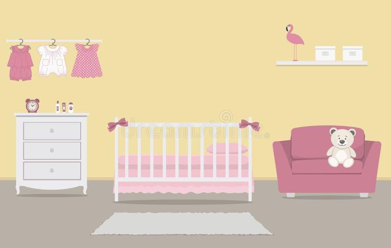 El sitio del ni?o para un beb? reci?n nacido Dormitorio interior para un bebé libre illustration