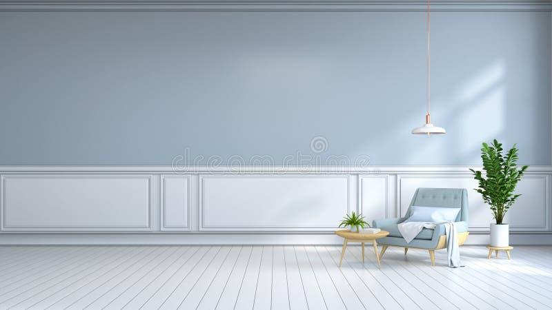 el sitio interior minimalista, la butaca azul clara en el suelo blanco y la pared azul clara /3d rinden ilustración del vector