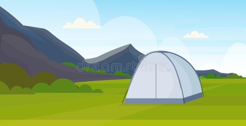 El sitio para acampar del área que acampa de la tienda cerca de las montañas del concepto de las vacaciones del viaje del campame stock de ilustración