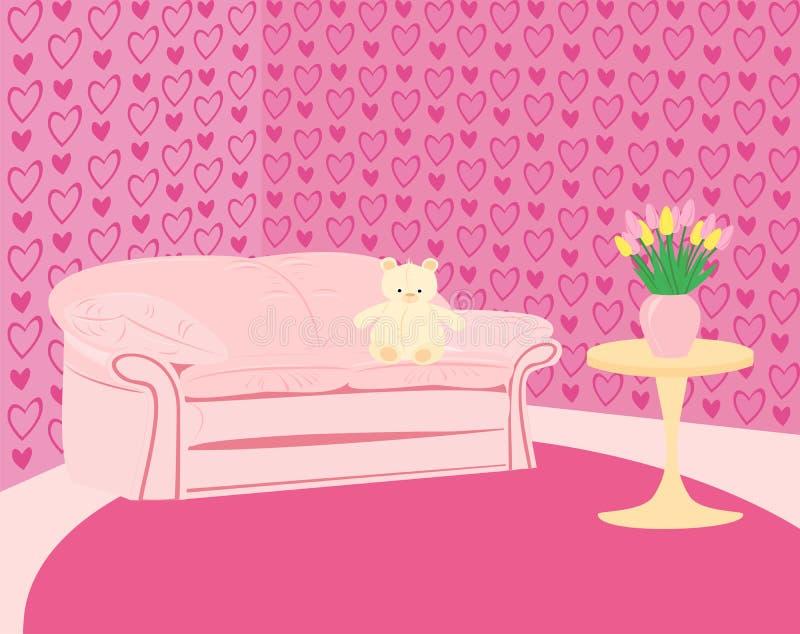 El sitio rosado de la muchacha con el sofá rosado y peluche-lleva ilustración del vector