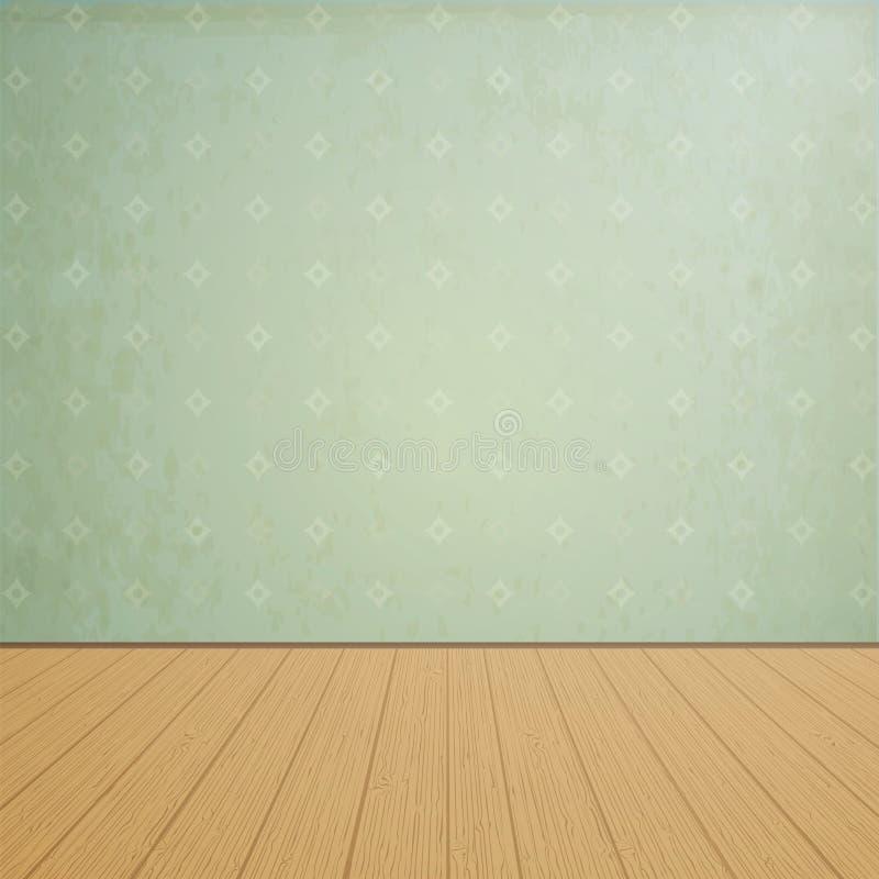 El sitio vacío con los pisos de madera y el vintage wallpaper stock de ilustración