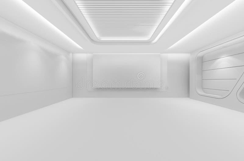 El sitio vac o futurista 3d rinde el dise o interior mofa del blanco para arriba stock de Diseno interior futurista