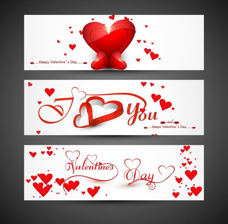 El sitio web para el jefe o las banderas fijó día de tarjetas del día de San Valentín colorido libre illustration