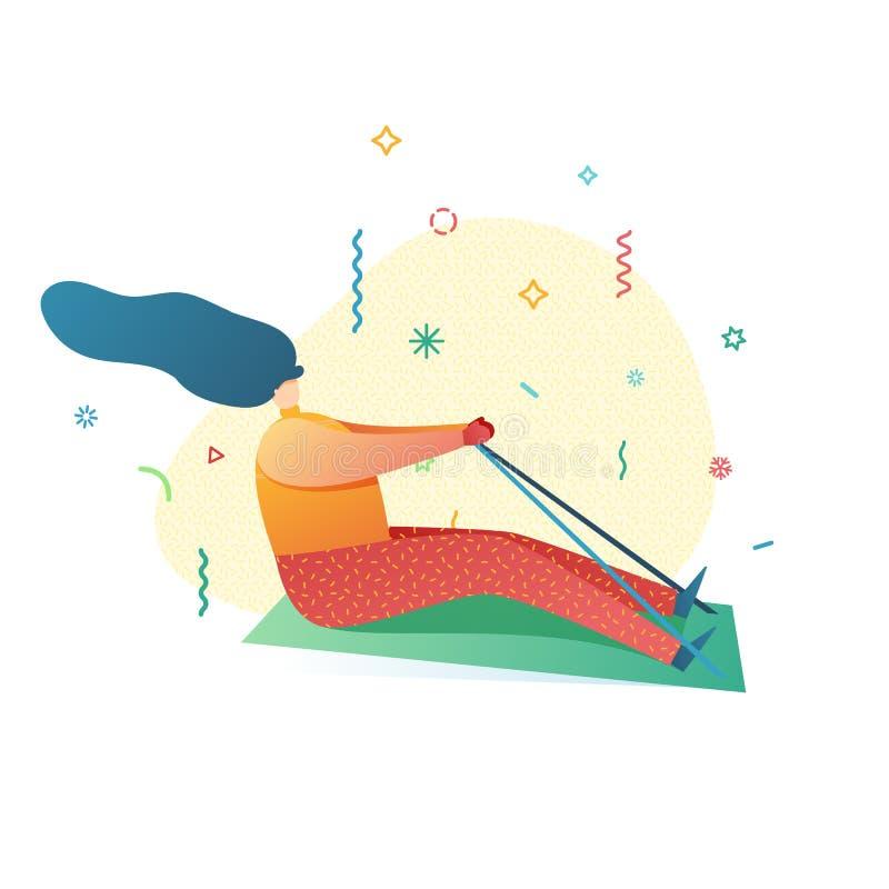 El sledding de la mujer joven del ejemplo de la Feliz Año Nuevo del diseño Actividad del invierno al aire libre Carácter femenino stock de ilustración
