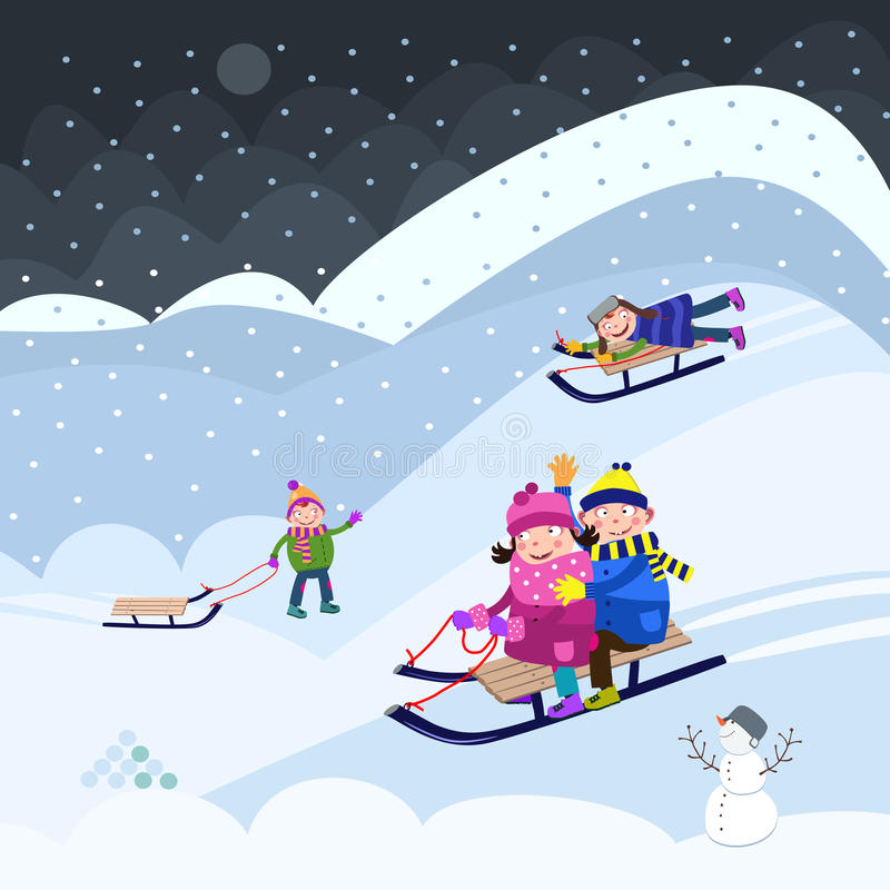 El sledding del invierno libre illustration