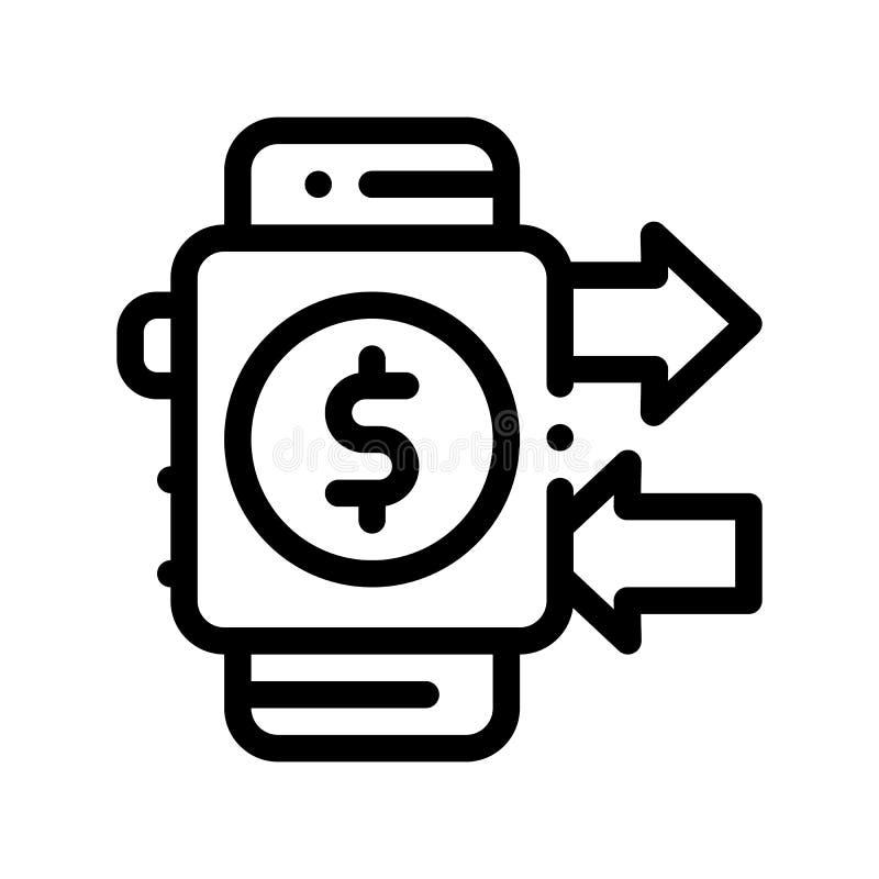 El Smart Watch del pago paga a vector del paso la línea fina icono libre illustration