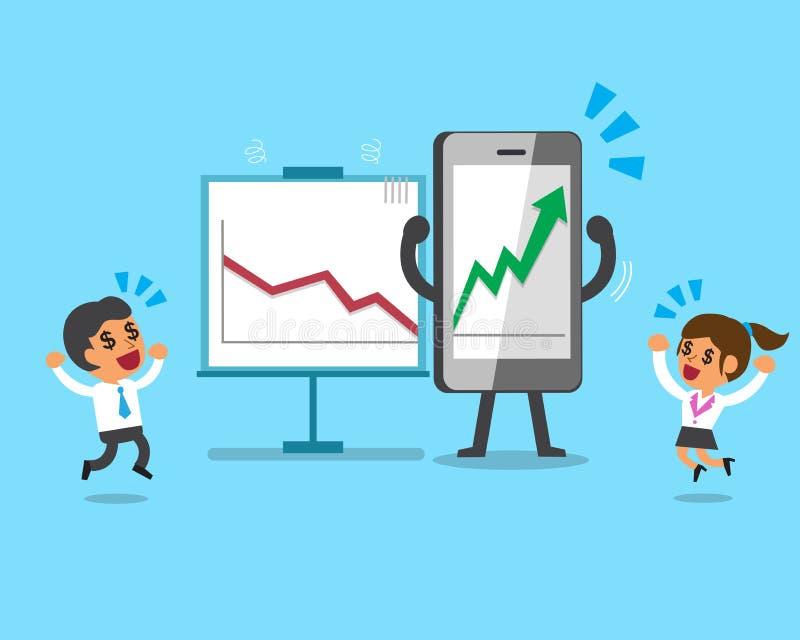 El smartphone de la historieta hace negocio mucho más rentable ilustración del vector