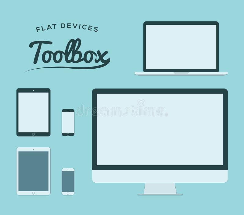 El smartphone, la tableta, el ordenador y el ordenador portátil planos vector los dispositivos ilustración del vector