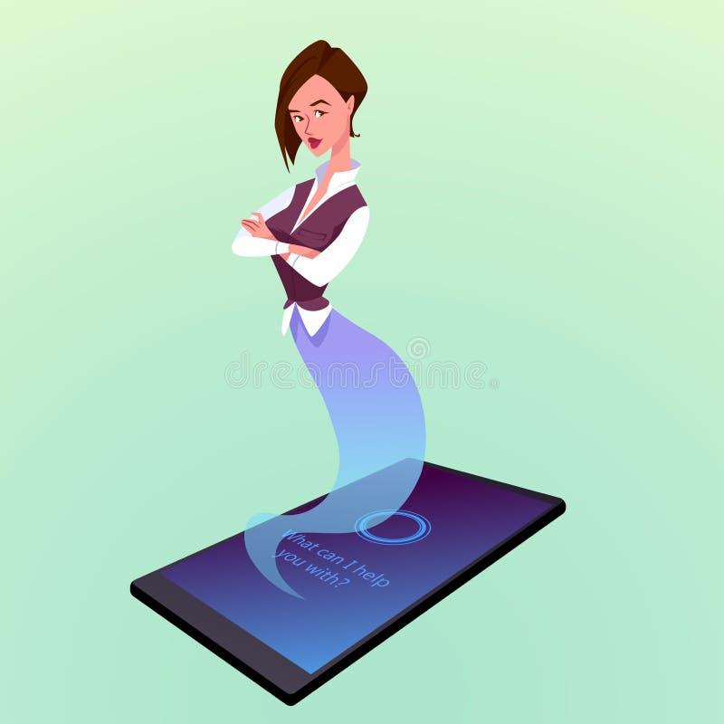 El smartphone moderno con el ayudante virtual de la mujer le gusta un genio ilustración del vector