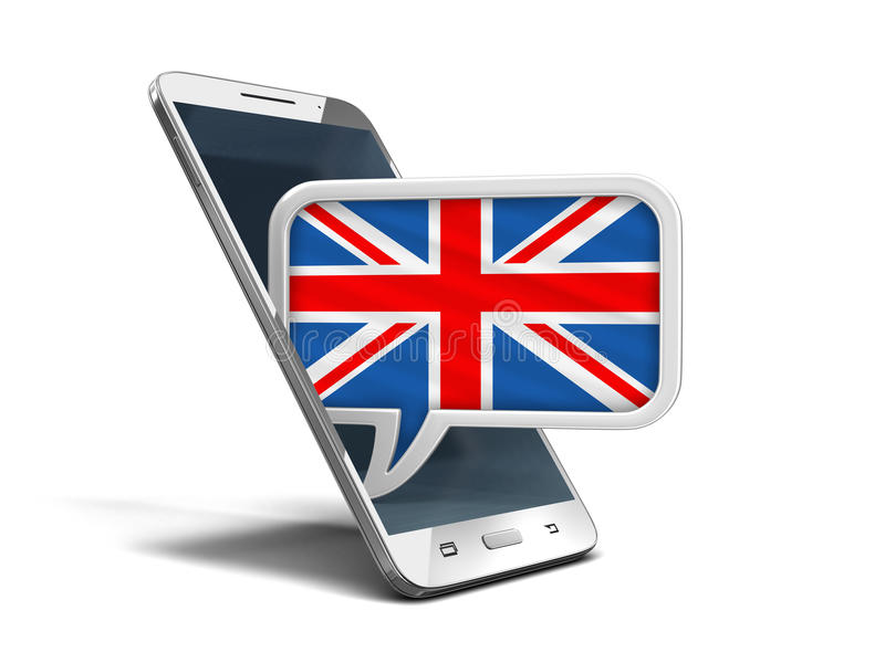 El smartphone y el discurso de la pantalla táctil burbujean con la bandera BRITÁNICA ilustración del vector