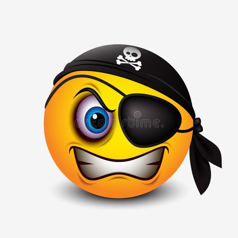 El smiley lindo del pirata que lleva la bufanda negra del pirata y el remiendo del ojo - emoticon, emoji - vector el ejemplo libre illustration