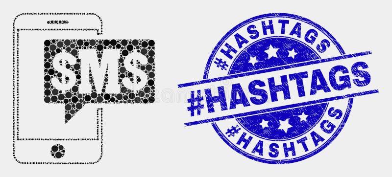 El SMS punteado vector del teléfono se nubla sello de Hashtags del hashtag del icono y de la desolación ilustración del vector