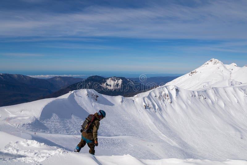 El snowboarder de la muchacha monta rápidamente en la nieve floja Freeride imagen de archivo
