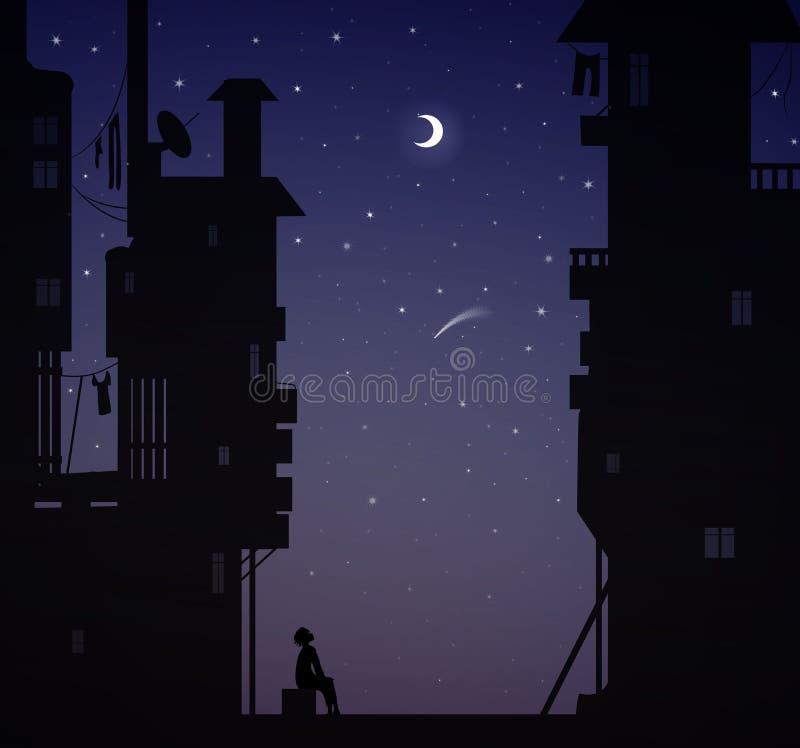 El soñador de la noche, muchacho se sienta cerca de las casas de la ciudad y mira las estrellas, sueños ilustración del vector