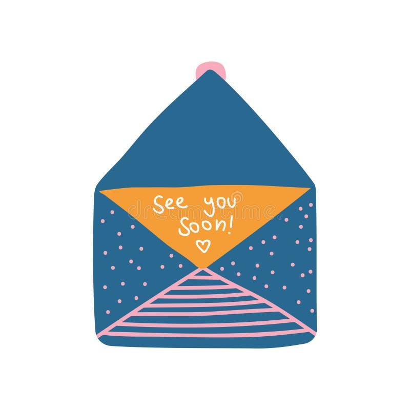El sobre azul retro abierto del correo con le ve pronto ejemplo del vector de la letra stock de ilustración
