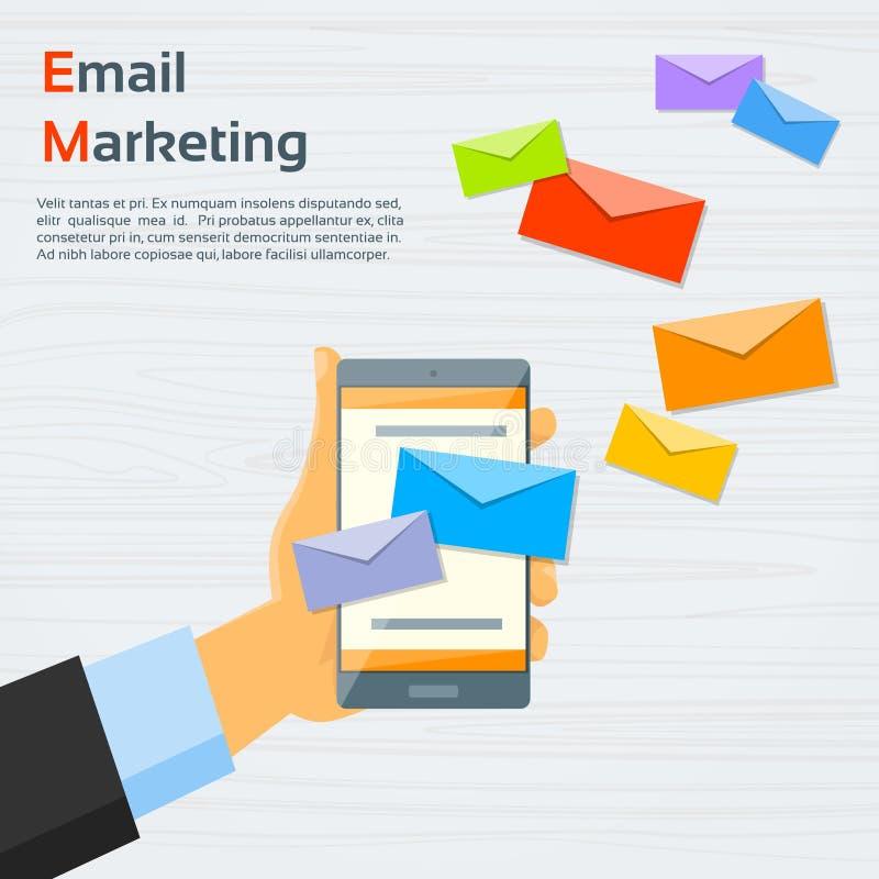 El sobre elegante del teléfono de la célula de la mano envía el correo del negocio stock de ilustración
