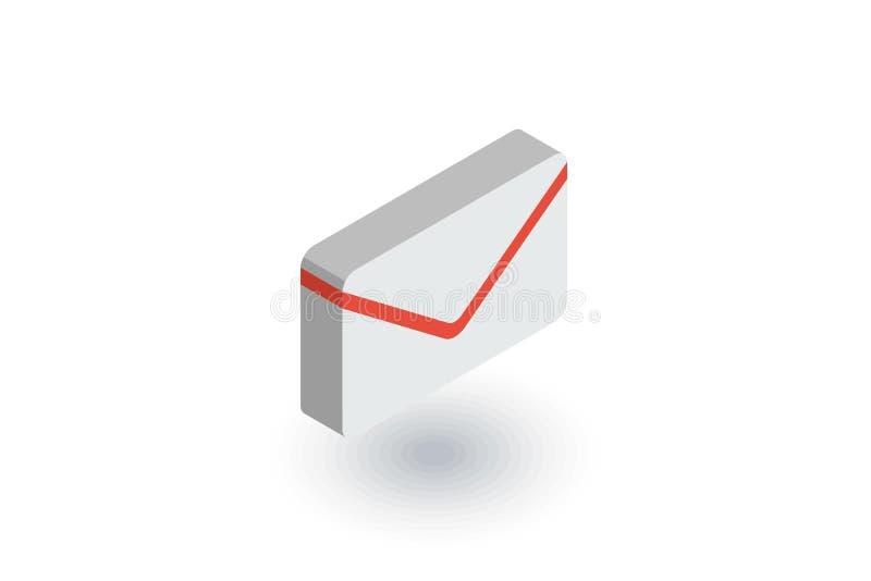 El sobre, letra del correo electrónico, envía el icono plano isométrico vector 3d libre illustration