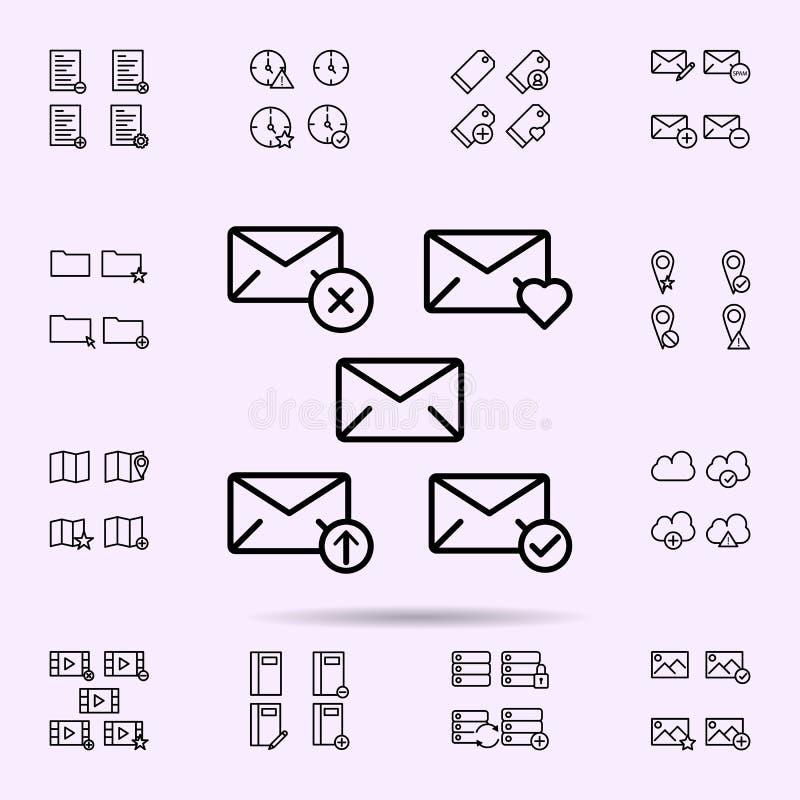 el sobre, quita, corazón, carga por teletratamiento, icono de la muestra del control sistema universal de los iconos del web para stock de ilustración
